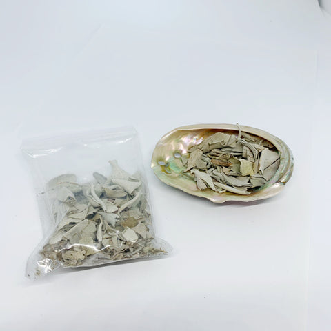 Mini Abalone Shell with small bag of loose sage