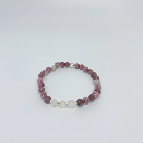 Lepidolite and Rose Quartz stretch bracelet with sterling silver beads