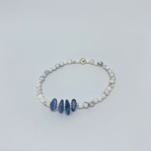Kyanite and Howlite stretch bracelet with sterling silver beads.