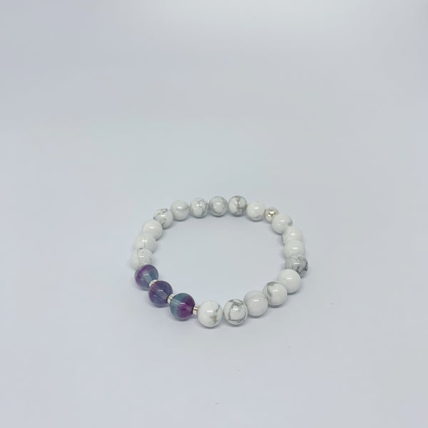 Handmade white howlite and fluorite crystal stretch bracelet with sterling silver