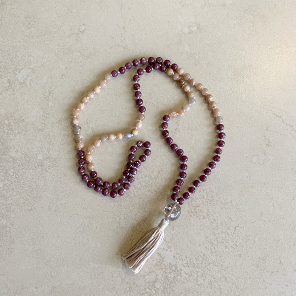 Sunstone, Lepidolite Mala necklace with a Smokey Quartz guru bead