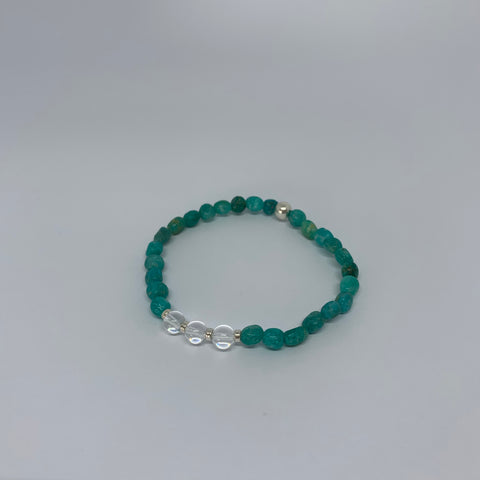 Amazonite and Clear Quartz stretch bracelet with sterling silver beads