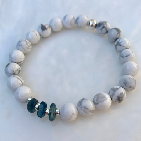 Handmade Howlite and Kyanite crystal stretch bracelet with sterling silver