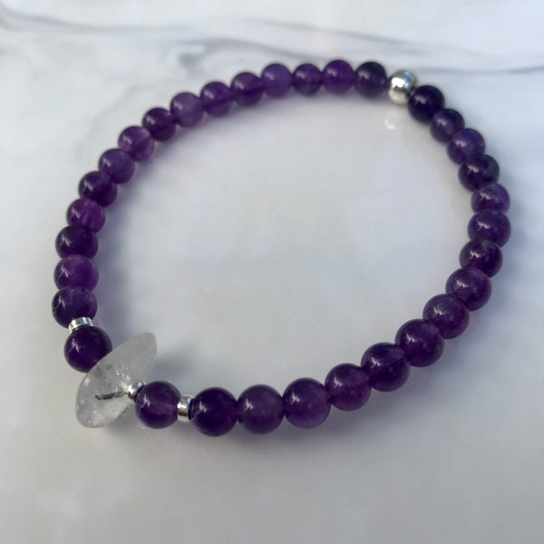 Amethyst and Tourmalated Quartz stretch bracelet