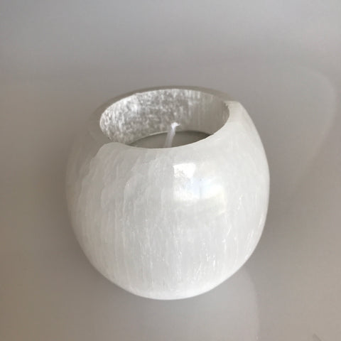 Polished Selenite Tealight Candle Holder