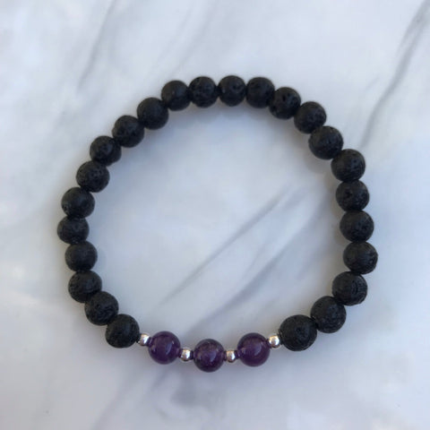 Amethyst and Lava Bead Stretch Bracelet