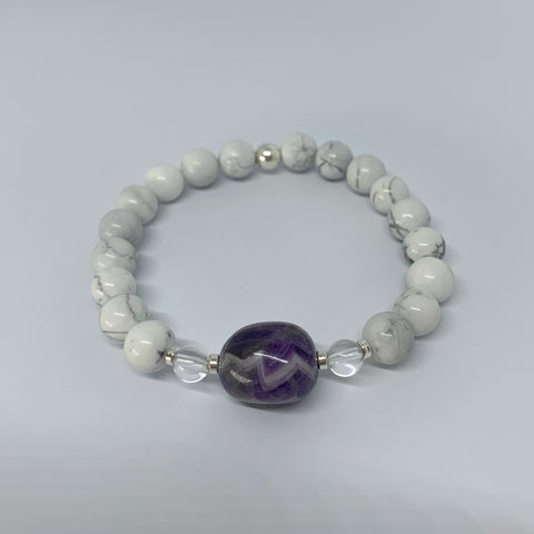 Howlite and Chevron Amethyst stretch bracelet with sterling silver beads