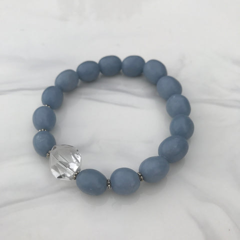 Angelite and Clear Quartz stretch bracelet