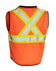 Custom Printed Hi Vis Traffic Safety Vest with Zipper Front, Tricot Polyester, 3 Sizes with Logo - Hi Vis Safety