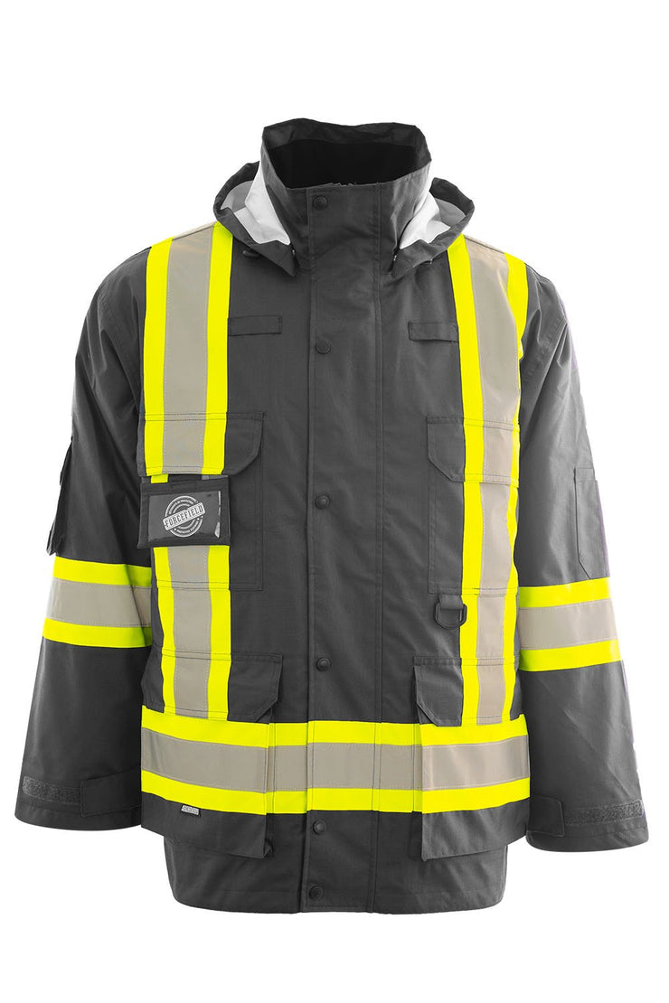 Custom Printed Hi Vis Winter Safety Parka with Removable Down Insulated Nylon Puffer Jacket