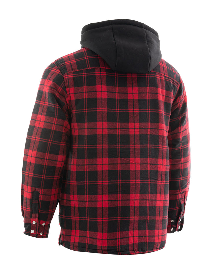 Red Plaid Hooded Quilted Flannel Shirt Jacket