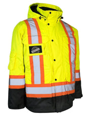 3-in-1 Hi Vis Winter Safety Parka with Removable Black Nylon Puff Jacket - Hi Vis Safety