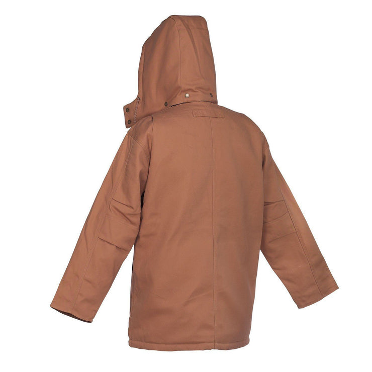 Brown Canvas Parka with Detachable Hood - Hi Vis Safety