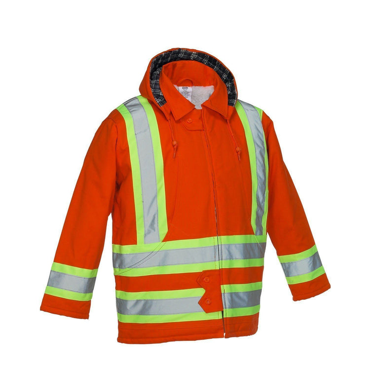 Cotton Canvas Insulated Safety Parka - Hi Vis Safety