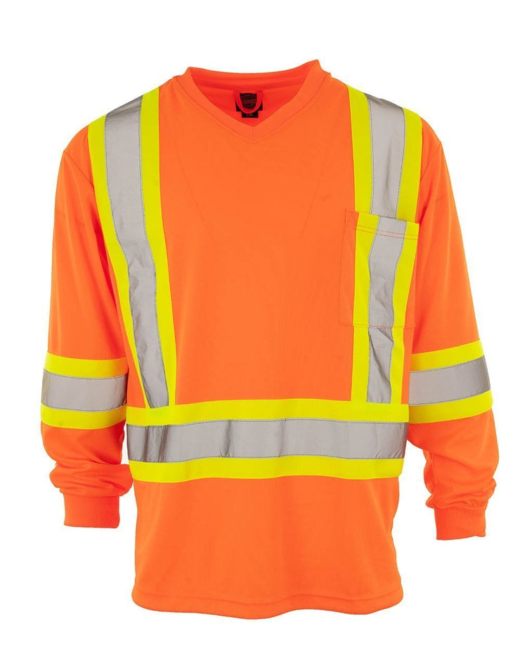 Custom Printed Hi Vis V-Neck Long Sleeve Safety Tee - Hi Vis Safety