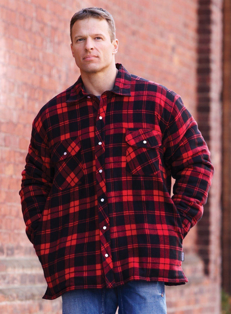 Dawson Red Plaid Quilted Flannel Shirt - Hi Vis Safety