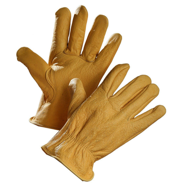 Deerskin Driver's Glove with Elastic Wrist - Hi Vis Safety