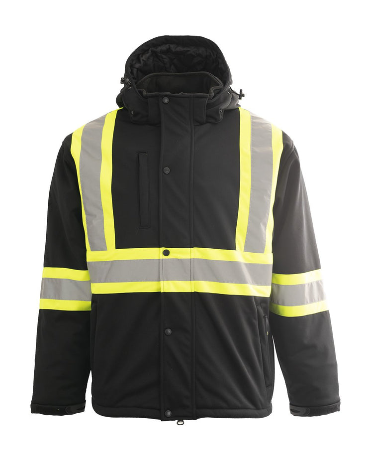 Custom Printed Hi Vis Softshell Winter Safety Jacket