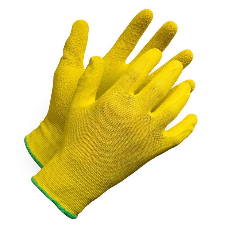 """Fieldwork Ladies Gardening Gloves"" Seamless Crinkle Palm Coated - Hi Vis Safety"