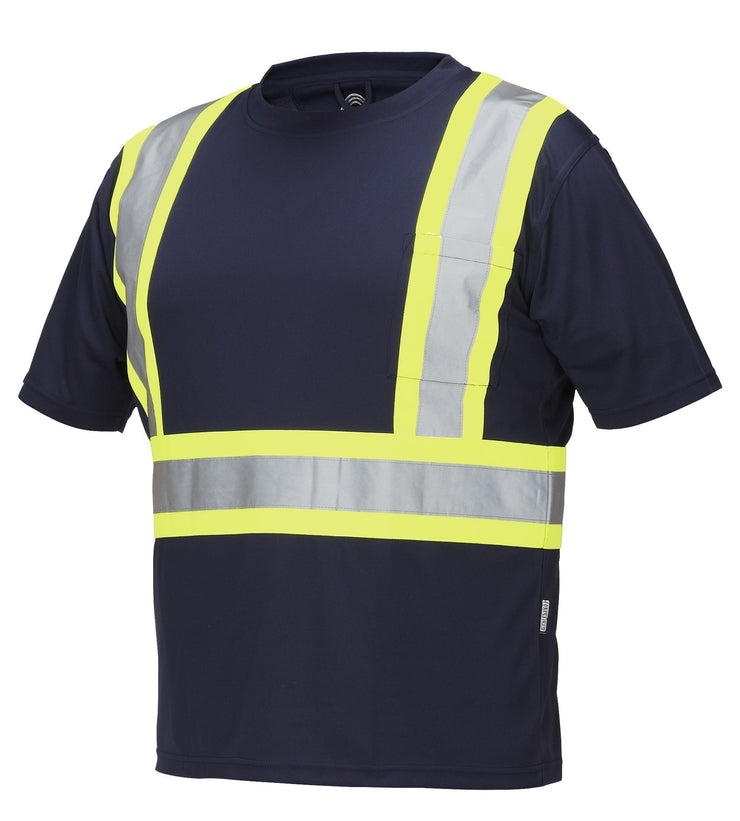 Hi Vis Crew Neck Short Sleeve Safety Tee Shirt with Chest Pocket - Hi Vis Safety