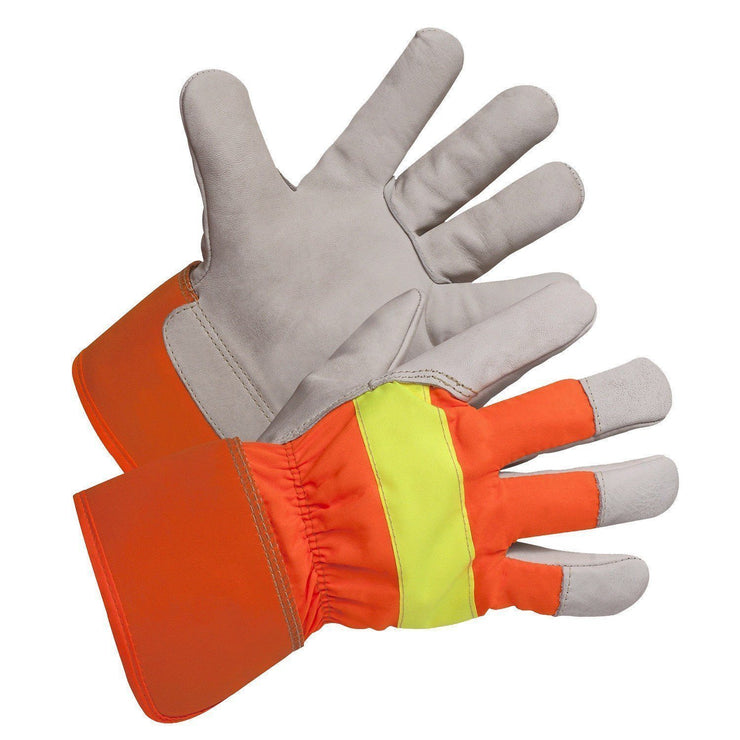 Hi-Vis Grain Leather Winter Work Glove, Foam and Fleece Lined - Hi Vis Safety
