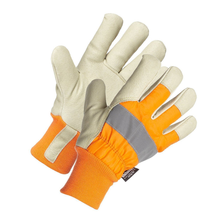 Hi-Vis Leather Glove, Knitwrist - Hi Vis Safety