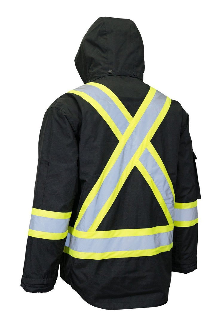 Hi Vis Winter Safety Parka with Removable Down Insulated Nylon Puffer Jacket - Hi Vis Safety