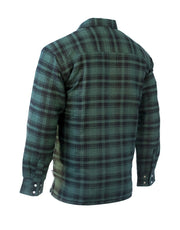 Jasper Green Plaid Quilted Flannel Shirt - Hi Vis Safety