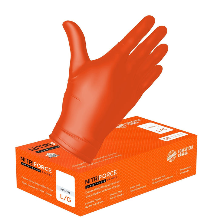 NitriForce Supply Chain Textured Nitrile Disposable Gloves (Case of 500 Gloves) - Hi Vis Safety