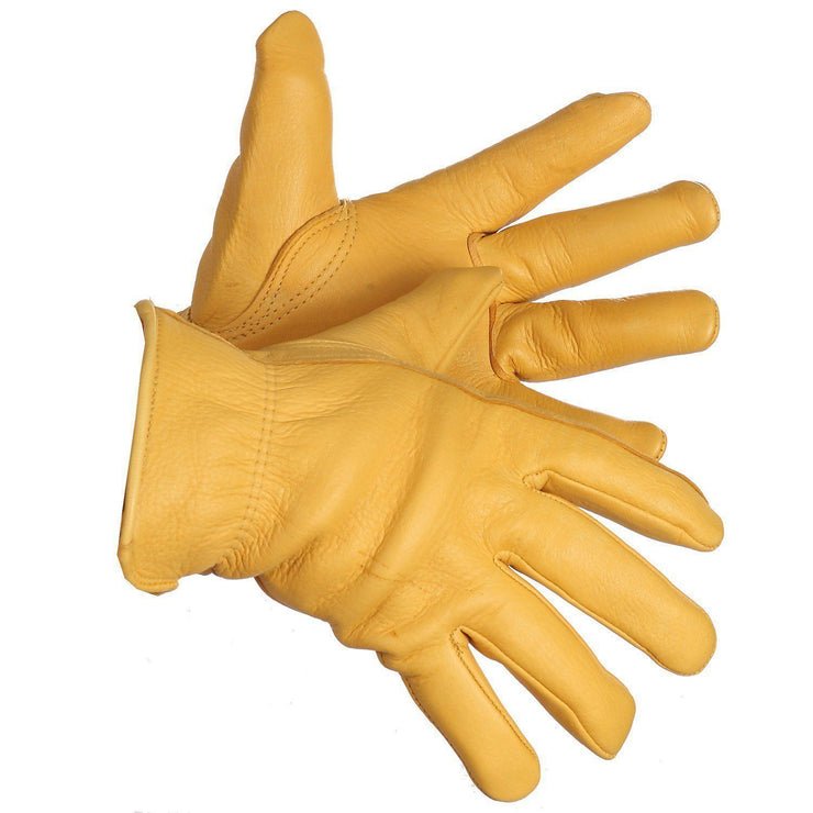 """Outlaw"" Fleece Lined Deerskin Driver's Gloves - Hi Vis Safety"