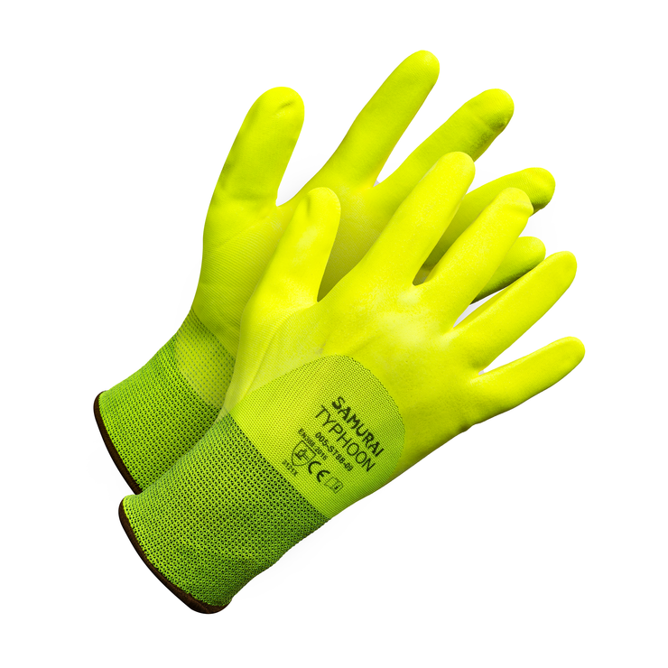 """Samurai Typhoon"" 3/4  Nitrile Dipped Hi Vis Work Glove - Hi Vis Safety"