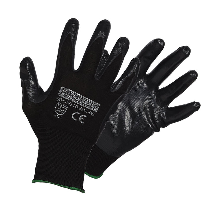 Seamless Knit Nylon Nitrile Palm Coated Work Gloves - Hi Vis Safety