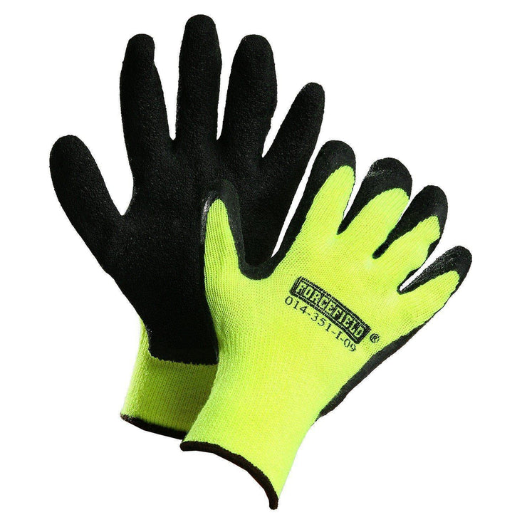 Winter Insulated String Knit Work Gloves, Palm Coated with Black Crinkle Latex - Hi Vis Safety