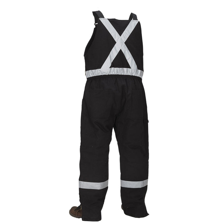 Winter Lined Black Cotton Canvas Overall with Reflective Tape - Hi Vis Safety