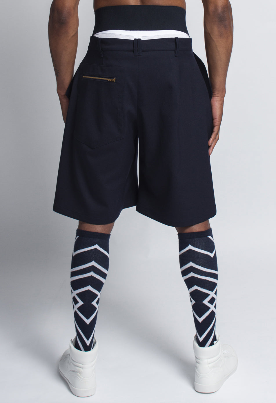 Navy Wool Blend Wide Shorts