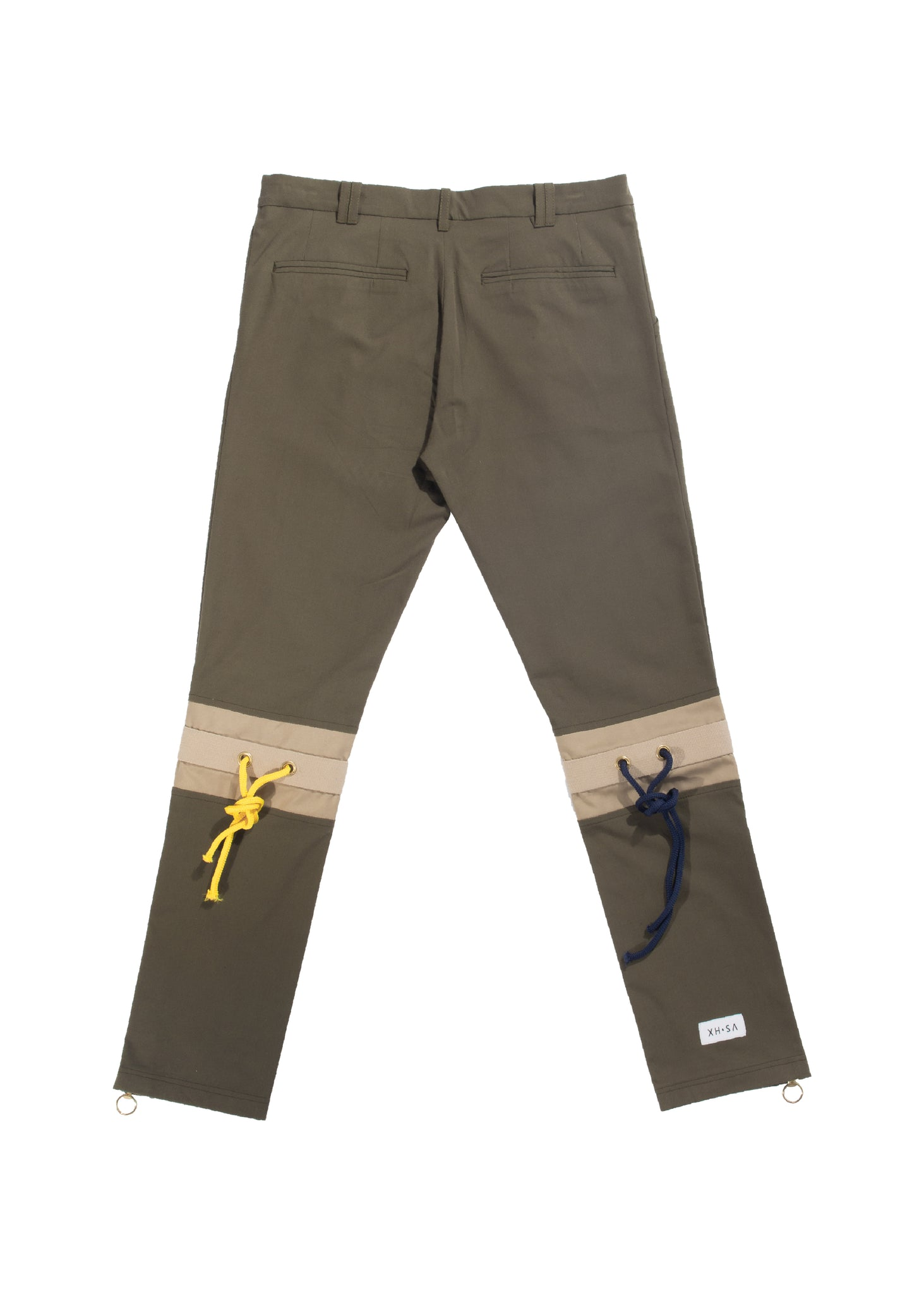 Army green cotton pleated trousers