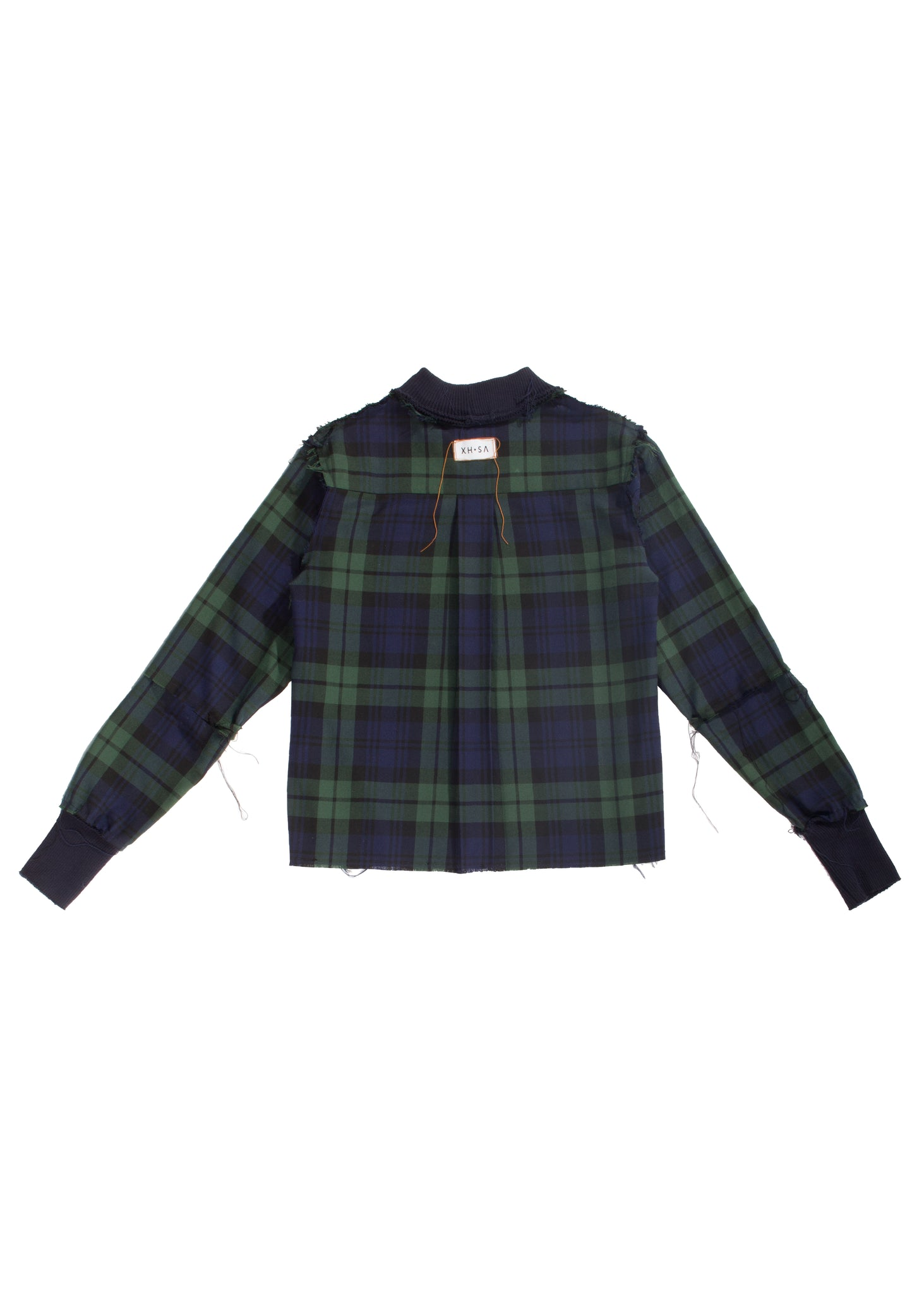 Plaid flannel raw edge sweater