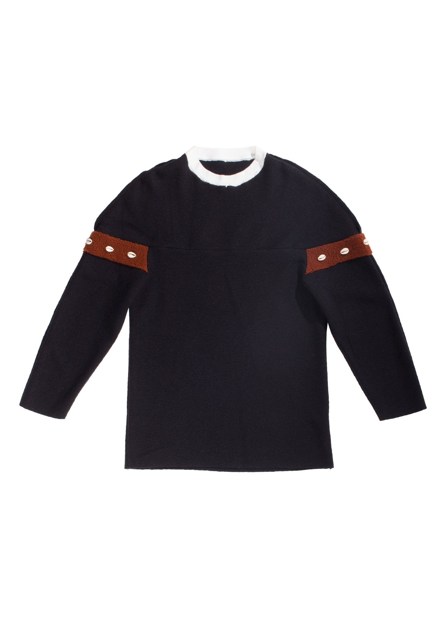 Xhosa - Navy boiled wool crewneck sweater with cowry shells