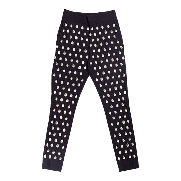 Cowry shells wool blend high waist trousers