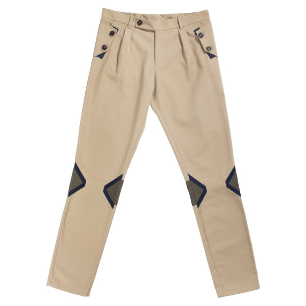 Xhosa beige straight fit pleated trousers