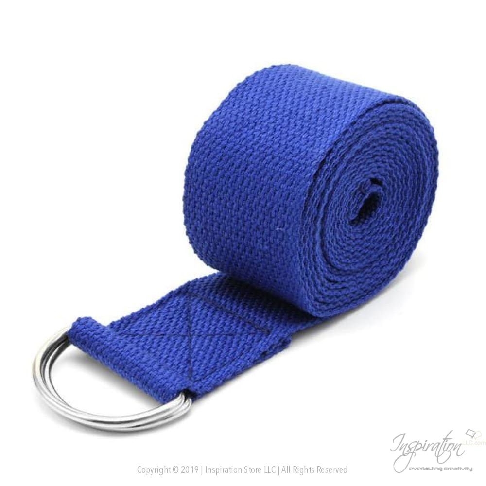 Adjustable D-Ring Yoga Stretch Strap (7 Colors) - Blue - Inspiration Store Llc