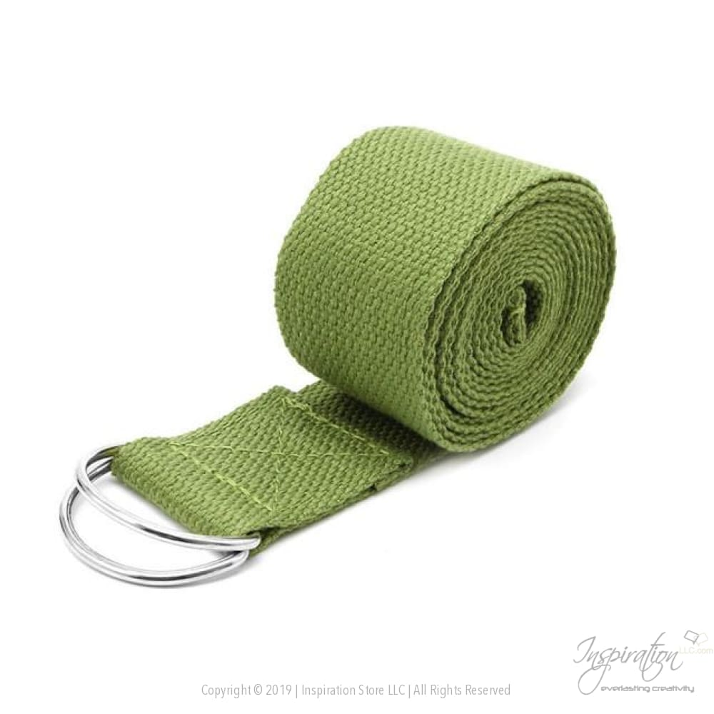 Adjustable D-Ring Yoga Stretch Strap (7 Colors) - Green - Inspiration Store Llc