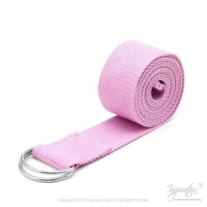 Adjustable D-Ring Yoga Stretch Strap (7 Colors) - Pink - Inspiration Store Llc
