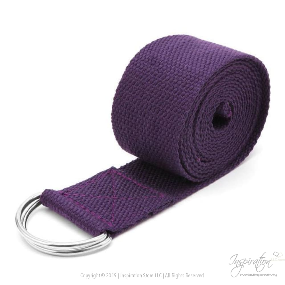 Adjustable D-Ring Yoga Stretch Strap (7 Colors) - Plum - Inspiration Store Llc