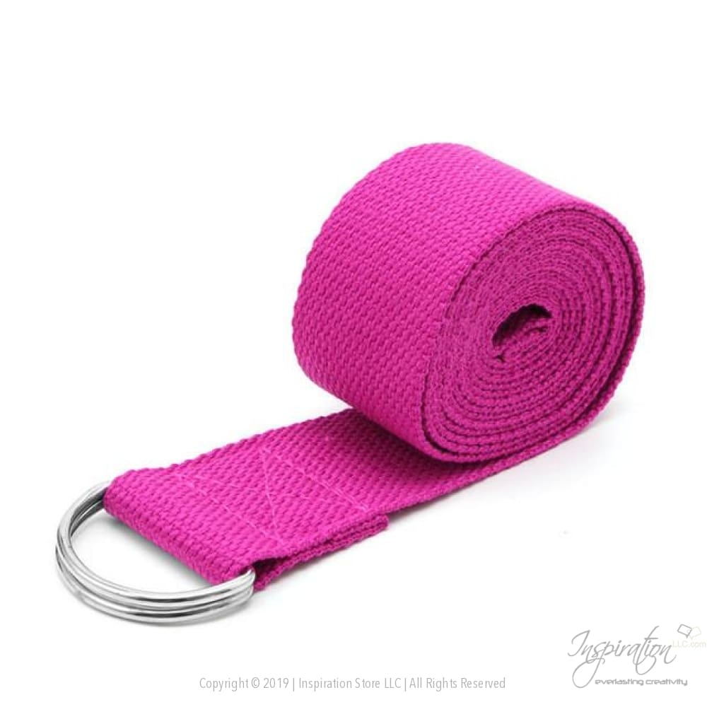 Adjustable D-Ring Yoga Stretch Strap (7 Colors) - Red - Inspiration Store Llc