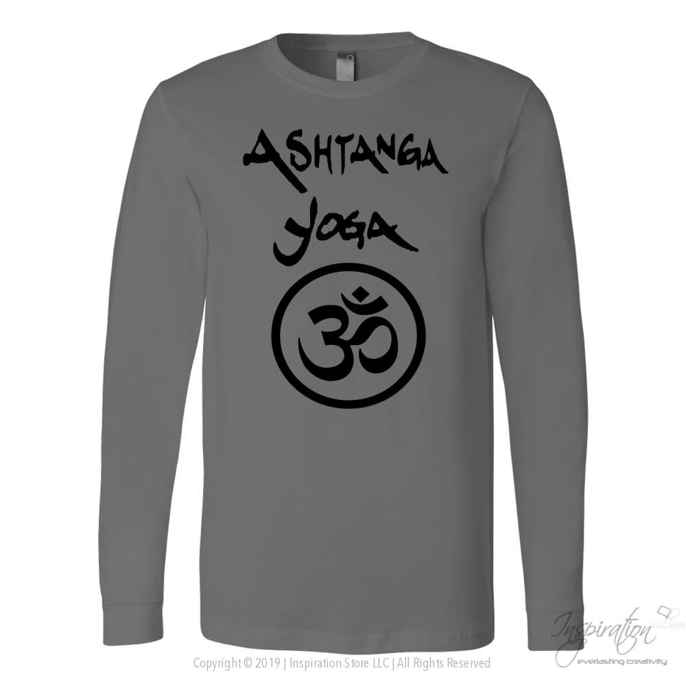 Ashtanga Yoga Shirt - (Style A) - T-Shirt - Canvas Long Sleeve Shirt / Asphalt / S - Inspiration Store Llc