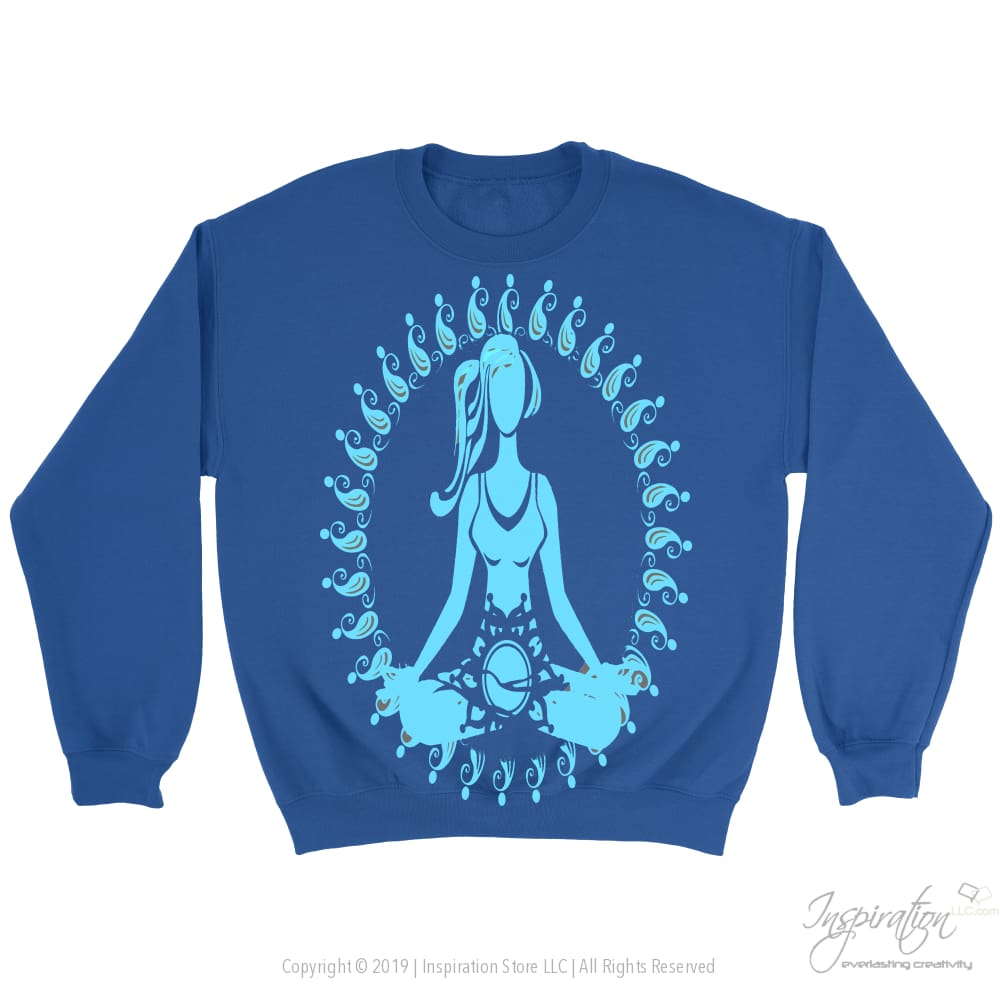 Blue Morning Meditation - (Style A) - T-Shirt - Crewneck Sweatshirt / Royal / S - Inspiration Store Llc