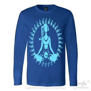 Blue Morning Meditation - (Style B) - T-Shirt - Canvas Long Sleeve Shirt / Royal / S - Inspiration Store Llc