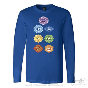Chakras Shirts - (Style B) - T-Shirt - Canvas Long Sleeve Shirt / Royal / S - Inspiration Store Llc