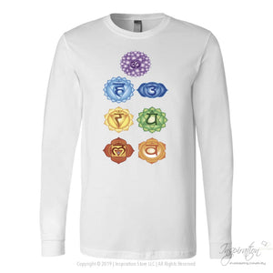 Chakras Shirts - (Style B) - T-Shirt - Canvas Long Sleeve Shirt / White / S - Inspiration Store Llc